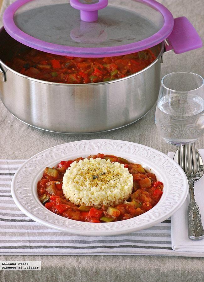 Receta vegetariana de pisto al curry con mijo. Con fotos del paso a paso, consejos y sugerencias de degustación. Recetas de verduras. Recetas...