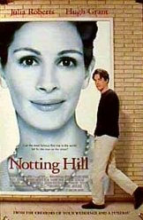 'Notting Hill' (1999) British romantic comedy set in Notting Hill,London. Screenplay was by Richard Curtis,who had written Four Weddings and a Funeral.The film stars Hugh Grant, Julia Roberts, Rhys Ifans, Emma Chambers, Tim McInnerny, Gina McKee and Hugh Bonneville.The life of a simple bookshop owner changes when he meets the most famous film star in the world.