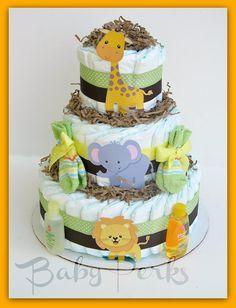Gender Neutral Jungle Diaper cake, Safari Diaper cake , Jungle Diaper cake, Baby Shower Decorations , Diaper Cakes