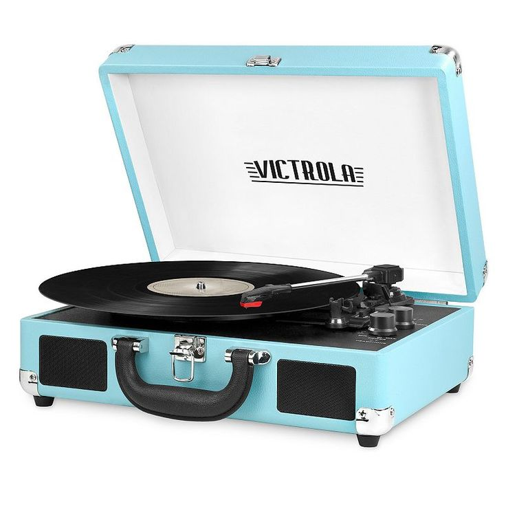 Victrola Portable Suitcase Record Player with Bluetooth, Turquoise/Blue (Turq/Aqua)