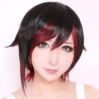 Wish | Black Mixed Red RWBY Trailer Ruby Rose Short Straight Hair Wig Cosplay Costume