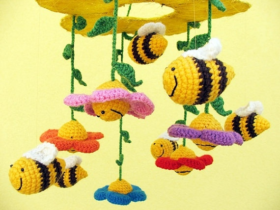 crochet #baby #mobile with flowers and #bees colorful by spikycake on Etsy