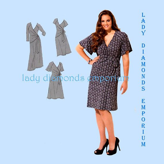 Simplicity 1653 Womens Mock Wrap Dress for Curvy Figures size