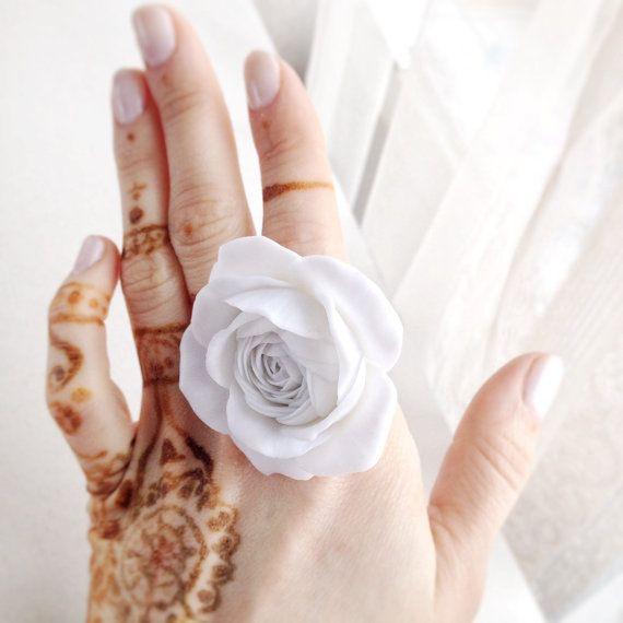 Handmade flower ring, rose ring, flower jewelry, polymer clay ring, white rose ring, big flower ring