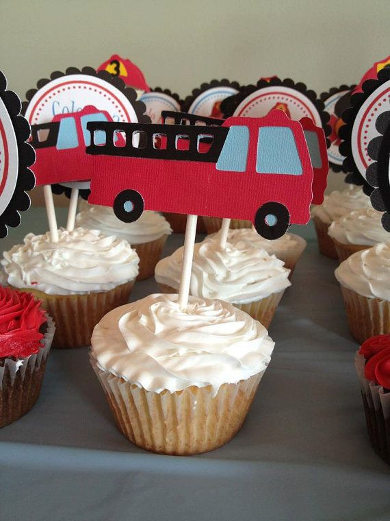 Firefighter Cupcake Toppers  Firetruck Party / by ThePaigeSpot, $15.00