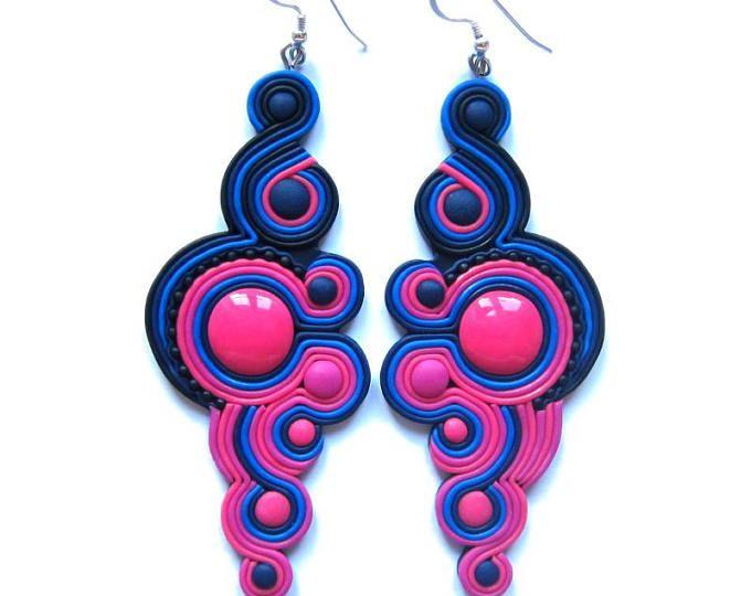 Rosa pendientes, pendientes azules marino, fucsias pendientes, pendientes grandes, pendientes grandes, enormes pendientes, pendientes de declaración, pendientes de color rosa oscuros