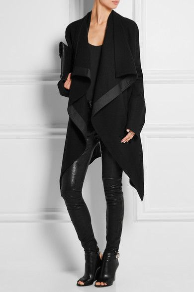 Rick Owens | Draped satin-trimmed wool-blend coat | NET-A-PORTER.COM
