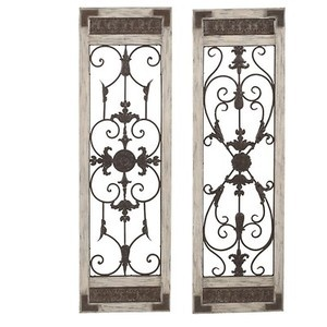 distressed antique white wood and iron wall decor found at http