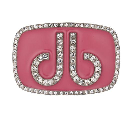 Oválná růžová spona s diamanty