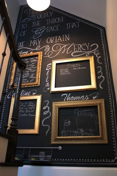 Add interest to your stairwell by creating wall that can easily be personalized and changed with chalkboard paint.