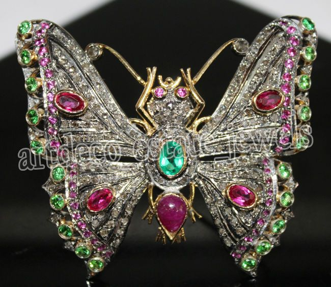 Butterfly 3.85c ROSE CUT DIAMOND RUBY & EMERALD .925 STERLING SILVER BROOCH #BridalAntiqueJewels