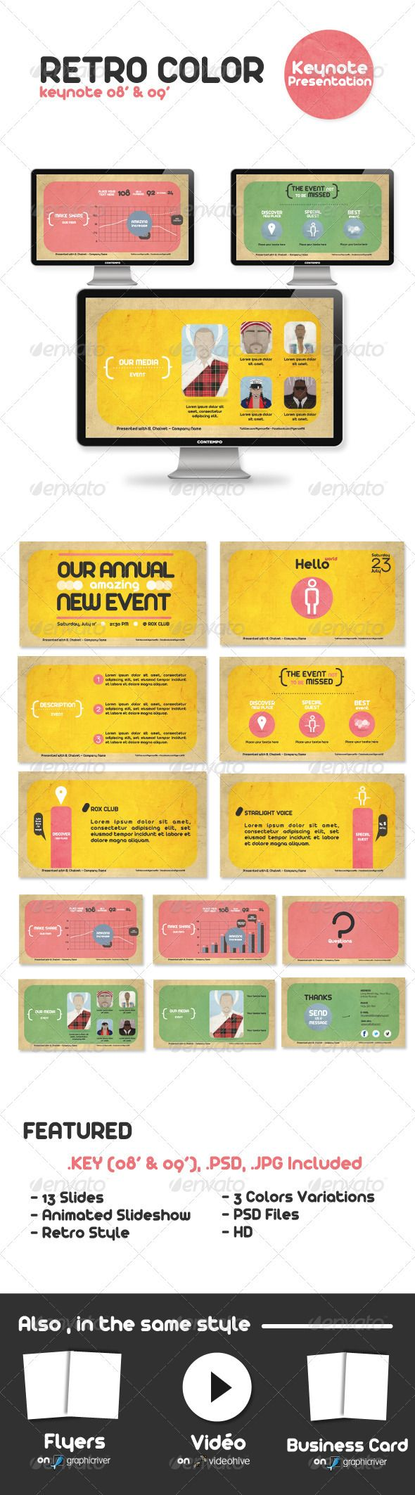 Retro Color Keynote Presentation - GraphicRiver Item for Sale
