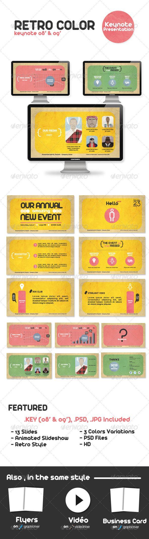 Retro Color Keynote Presentation - GraphicRiver Item for Sale