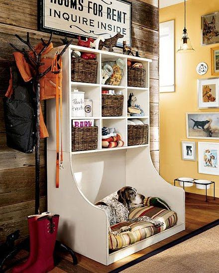 Pet bed & organized storage for all his needs! I think this would be a beautiful thing for the mudroom!
