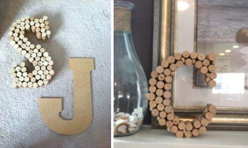 Letras DIY de cartón decoradas con tapones de corcho
