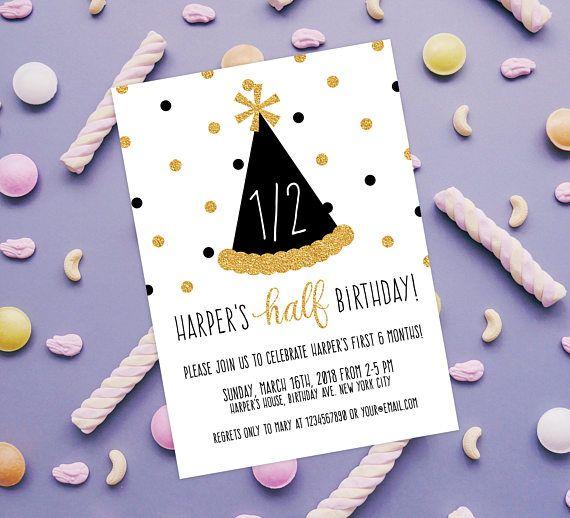 half birthday invitation 1 2 birthday