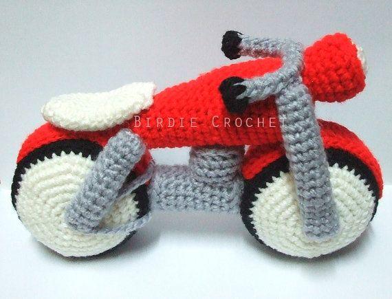 Motorcycle  Handmade Amigurumi Crochet Motorbike by Birdiecrochet, $29.00