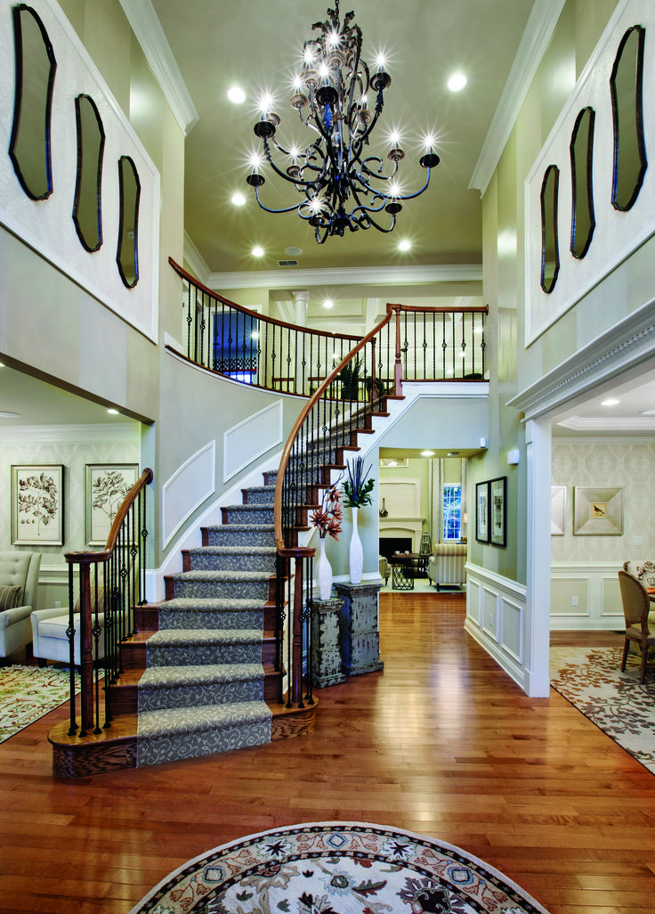 Foyer Staircase Options : Installed in a toll brothers design center showroom this