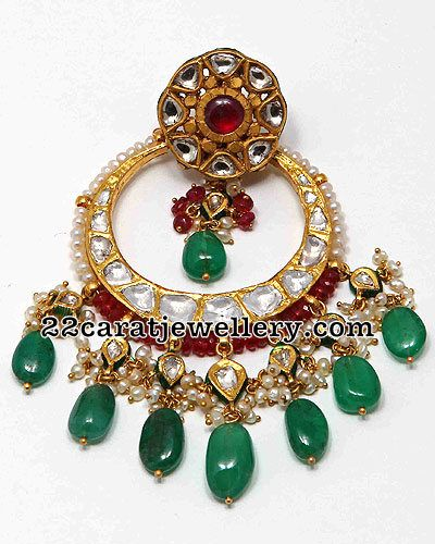 Jewellery Designs: Kundan Gemstone Chandbalis