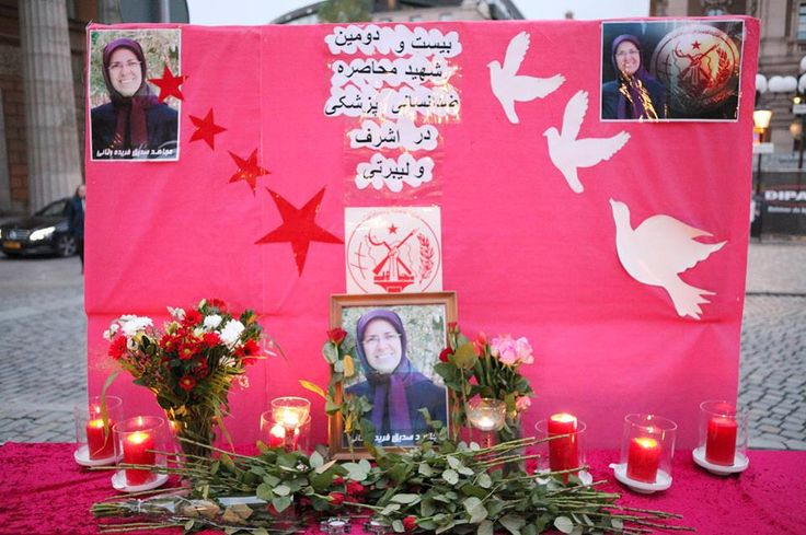 November 8, 2014-Iranians in Stockholm pay tribute to Ms. Farideh Vanayi, the latest victim of the medical siege on Camp Liberty. More than 3000 Iranian dissidents live in Camp Liberty, Iraq. The Iraqi government, under the orders of the Iranian government, has implemented a medical siege on the camp.  They also prevent the entrance of medications and create difficulties to the access of food and drinking water.