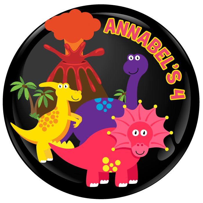 Dinosaur Personalised Birthday Party Badge #488