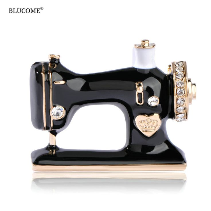 Blucome Enamel Esmalte Sewing Machine Shape Brooch Gold-Color Vintage Wedding Clothes Accessory Women Brooches Unique Hijab Pins #Affiliate