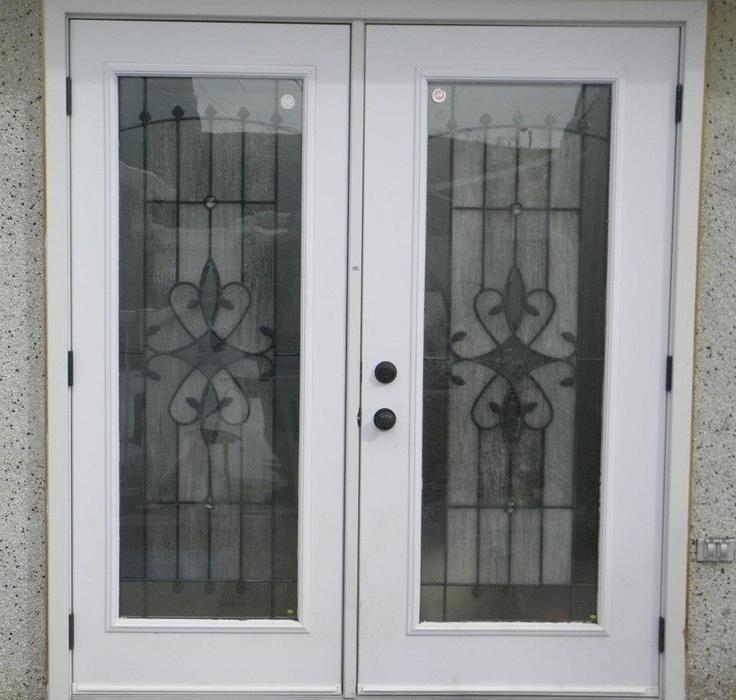 """36"""" RHO / 32"""" LHO 2x6 Split Garden Door System   Factory Painted Steel Insulated Doors   w/ 2264 Caspian Door Lites   Vinyl Wrap Jamb & Brick Molding"""