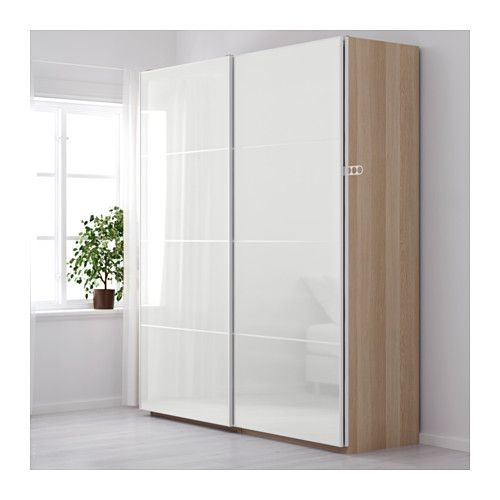 PAX Wardrobe, white stained oak effect, Frvik white glass