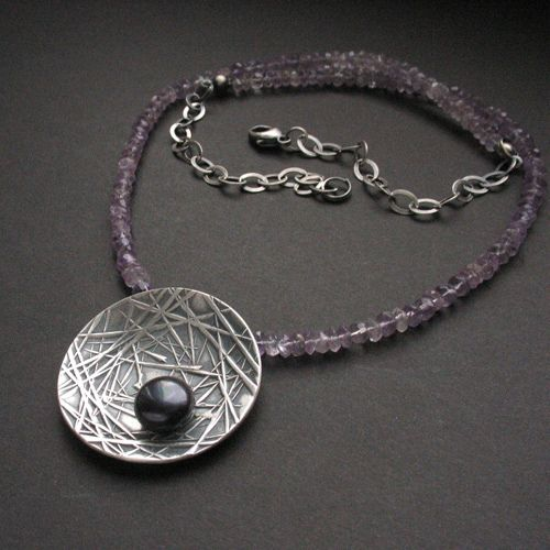Beautiful metal clay necklace.