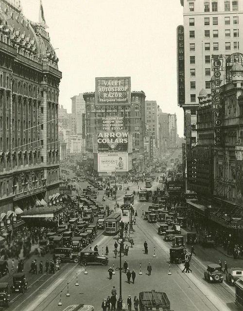 Times Square. NYC. 1923. The view towards uptown with the old Hotel Astor on the left.