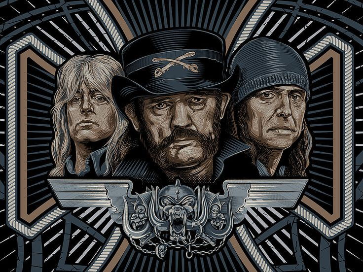 «MOTORHEAD» Fragment vector illustration. Artwork series of Kings of rock. Illustration of the print for t-shirts. Not a commercial project. The work is done in programs Adobe Illustrator.
