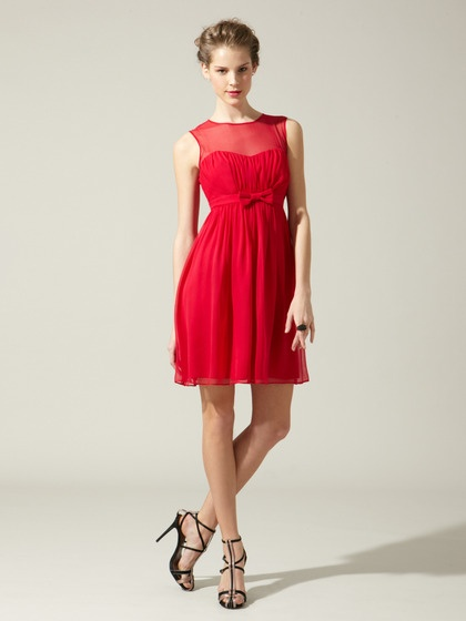 Silk Chiffon Bridesmaid Dress red