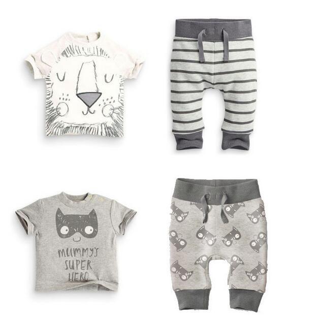 TZ-300 2017 Summer infant детская одежда комплектов одежды мальчик Хлопок маленькие монстры и львов с коротким рукавом 2 шт. мальчик одежда