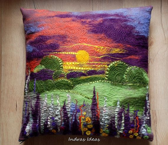 Unique pillow cover Sunset needle felted art by Indrasideas