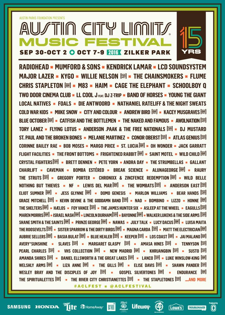 The wait is over! The 2016 Austin City Limits Music Festival (ACL) lineup is here!