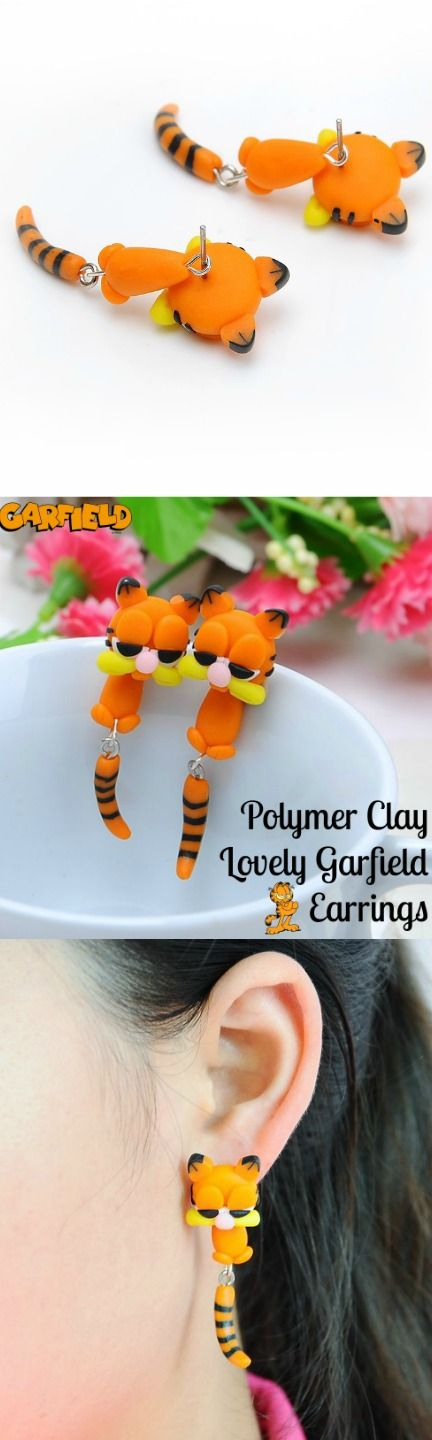 Polymer Clay Lovely Garfield Earrings! Click The Image To Buy It Now or Tag Someone You Want To Buy This For.  #Garfield