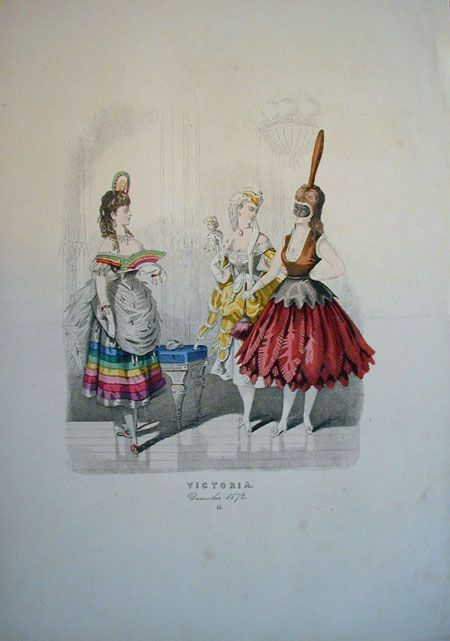 Fancy dress, 1872 Germany, Victoria Looks like a rainbow (complete with clouds and raindrops) and a duster, and I can't tell what the ...