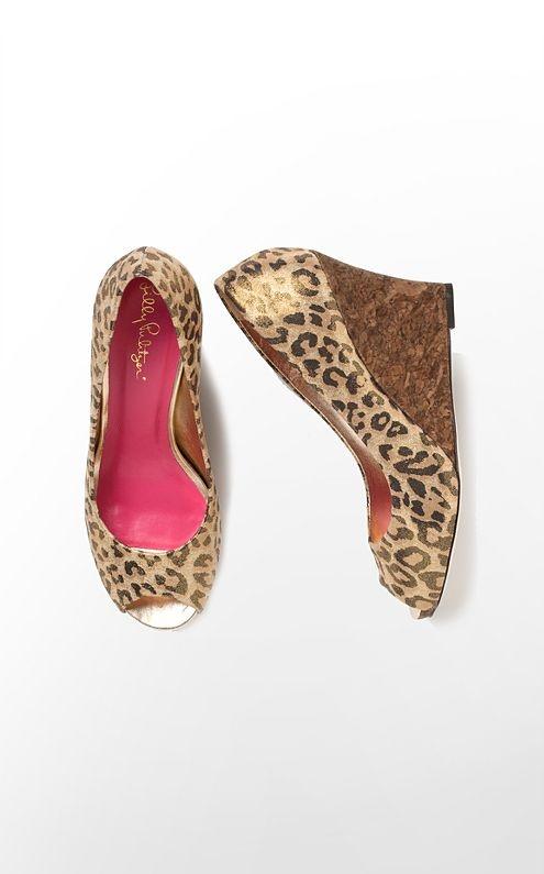 Metallic Leopard wedge