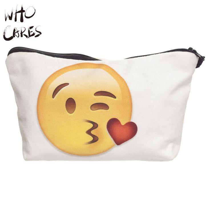 Who Cares Emoji Kiss 3D Printing Women Cosmetic Bag Organizer Maleta de Maquiagem Make up Bag Necessaire Travel Makeup Bag Brand #clothing,#shoes,#jewelry,#women,#men,#hats,#watches,#belts,#fashion,#style