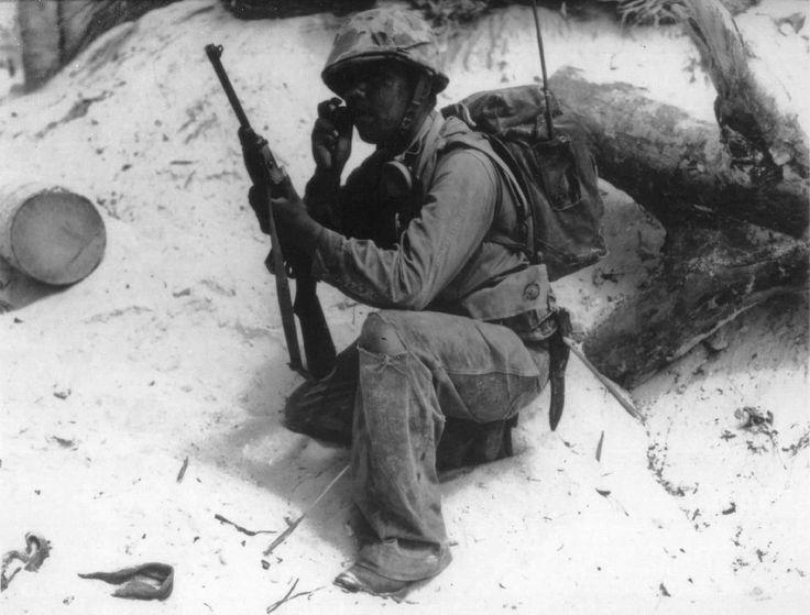 US Marine code talker on Tarawa, Gilbert Islands, Nov 1943