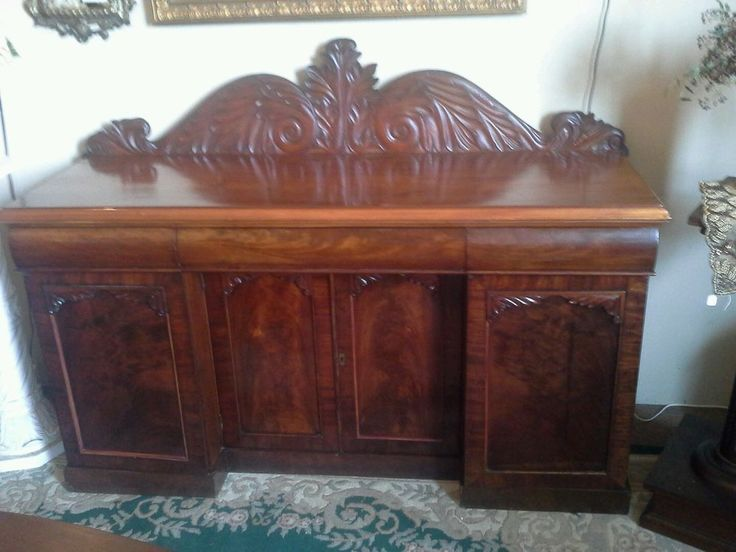 """ANTIQUE EMPIRE 68"""" FLAME MAHOGANY SIDEBOARD W CARVED ACANTHUS BACKSPLASH #Empire #Unknown"""