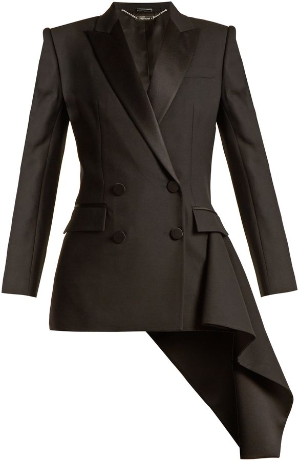 ALEXANDER MCQUEEN Asymmetric-drape double-breasted jacket