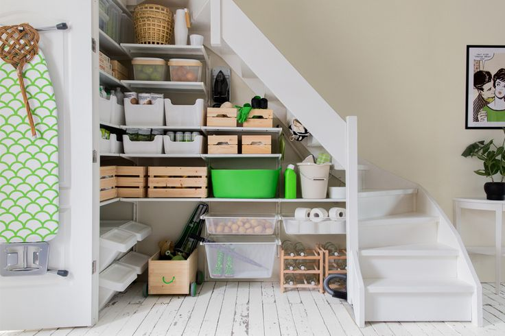 storage under the stairs with ALGOT IKEA. Interior design & styling Celine Khemissi for #STUDIObyIKEA