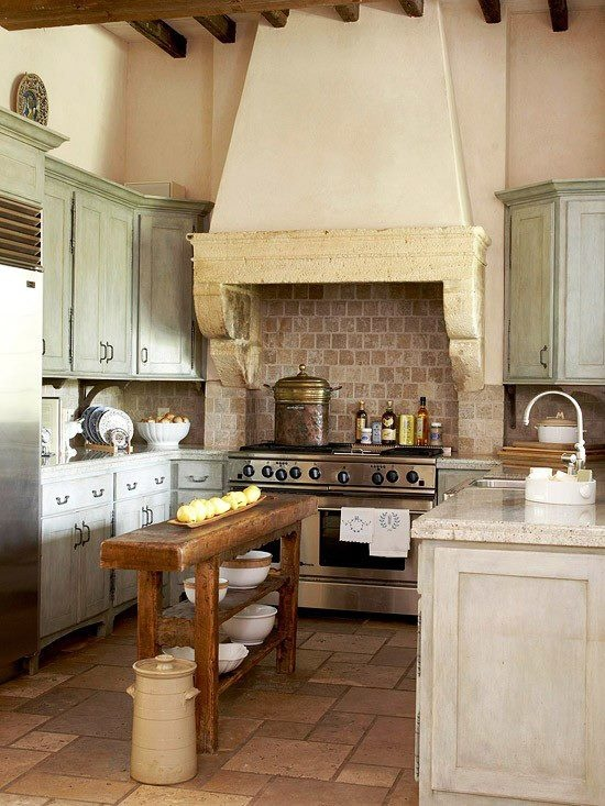 I like the semi-rustic...but the cabinets right beside the stove would be completely useless because you can't open the doors all the way.