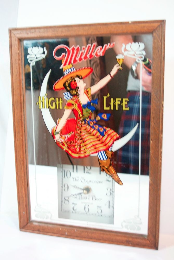 Vtg Miller High Life Beer Mirror Bar Sign In Moon Champagne Of Beers Clock