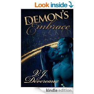 Demon's Embrace (Book of Demons 2) by V. J. Devereaux.  When Professor Miri Reynolds spots the incredibly handsome man standing in the shadows of the lecture hall, she doesn't know he's there for a purpose. Ash has come to seek information about the ethereal planes in order to recover the Book of Demons. A shadowy corporation called Prometheus is hunting for the Book as well, and they're not afraid to take extreme measures. http://www.amazon.com/Demons-Embrace-Book-2-ebook/dp/B0078S8ZO0