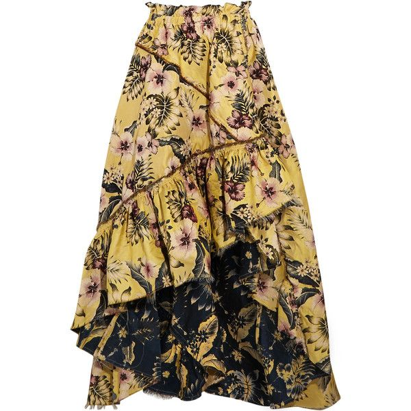 Philosophy di Lorenzo Serafini Asymmetric ruffled floral-jacquard maxi... (2,105 SAR) ❤ liked on Polyvore featuring skirts, yellow, maxi skirt, floral print maxi skirt, brown maxi skirt, floral skirt and long floral skirts