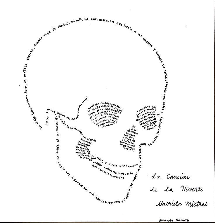 """Que bonito bonito Caligrama de """"La canción de la Muerte"""" de Gabriela Mistral. Amanda hizo una obra de arte en la elaboración de tan bonito Caligrama. M. Melara"""