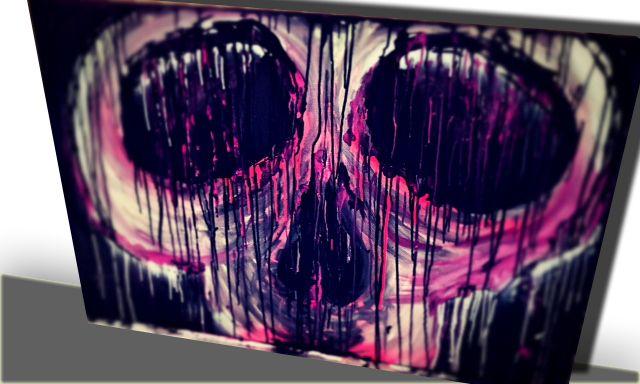 Skull, Sugarskull, Art, Painting, purple, pink, grey, wit, zwart