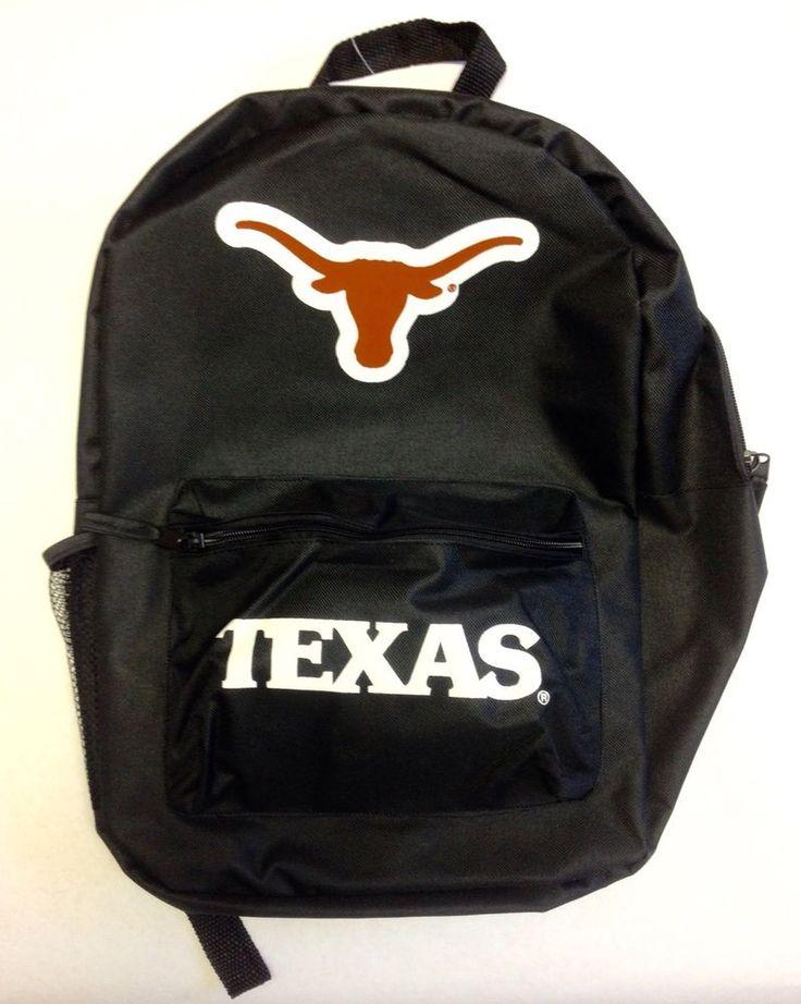 Texas Longhorns Black Backpack UT College Book Bag #ForeverCollectibles #TexasLonghorns